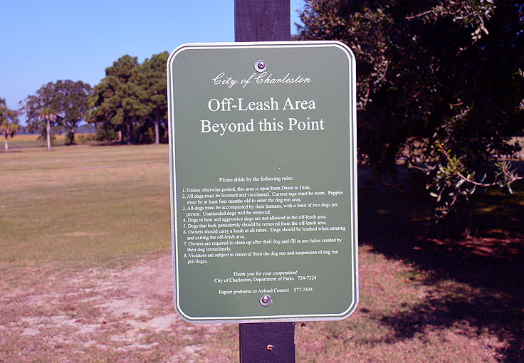 Off-leash area in Brittlebank park, Charleston SC