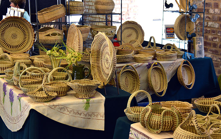 Grass baskets for sale at The City Market in Charleston, SC