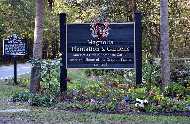A sign for the Magnolia Plantation in Charleston, SC