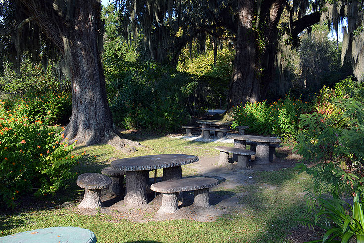 Picnic tables made from tree slices at Magnolia Plantation in Charleston, SC