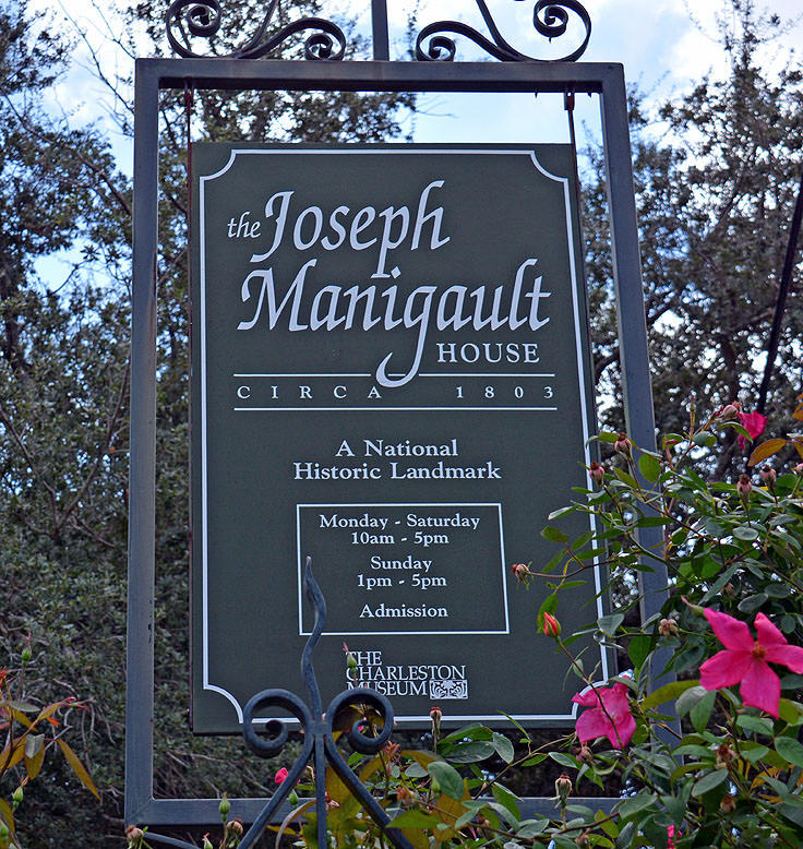 Joseph Manigault House sign in Charleston, SC