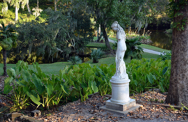 A statue in a garden at Middleton Place Plantation in Charleston, SC