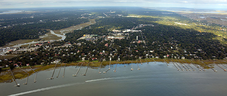 An aerial shot of the shore in Mt. Pleasant, SC