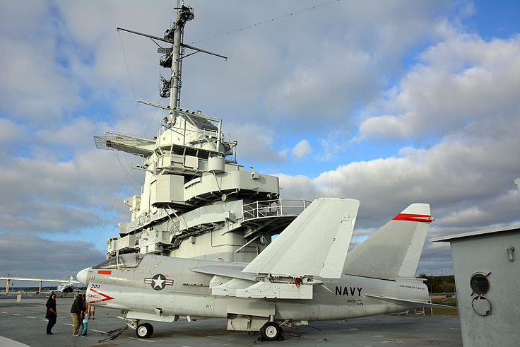 Decommissioned planes sit atop the flight deck of the U.S.S. Yorktown