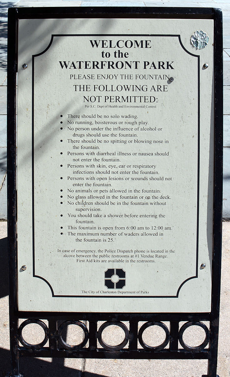 The rules of Waterfront Park in Charleston, SC