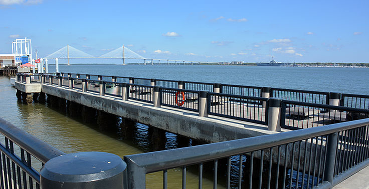 A view of the Ravenel bridge from Waterfront Park in Charleston, SC