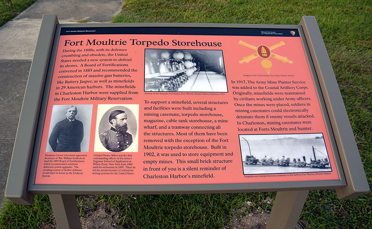 Fort Molutrie Torpedo Storehouse sign on Sullivan's Island, SC