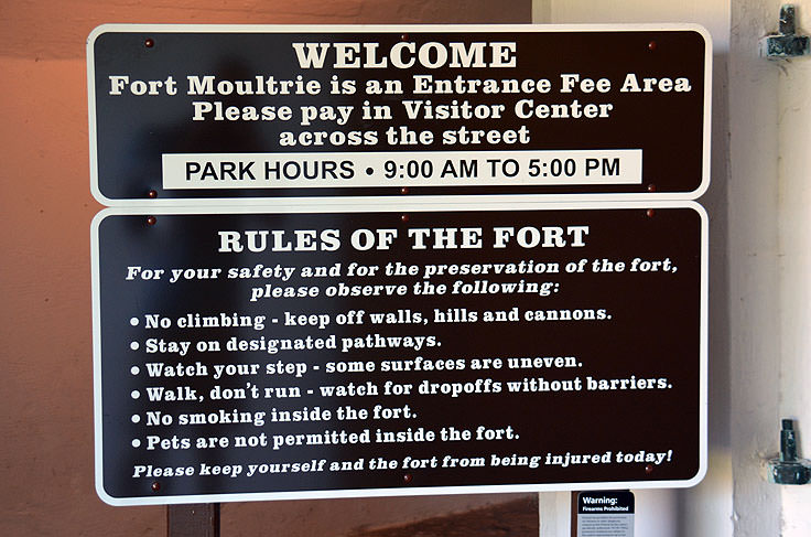 Welcome sign to Fort Molutrie on Sullivan's Island, SC